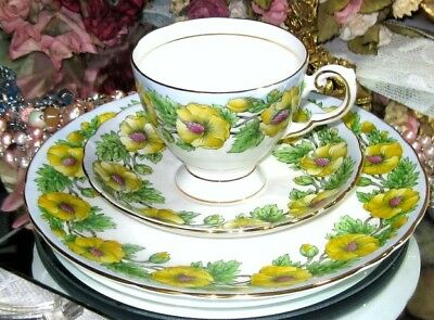 Vintage ROYAL TUSCAN Hand Painted BLUE & YELLOW FLOWERS Tea Cup & Saucer Trio