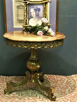 Vintage  Brass & Italian Marble Round Occasional Table or Coffee Table
