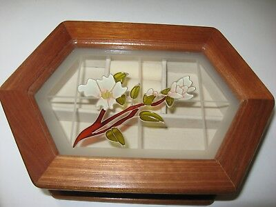 Octagon Wood Jewelry/Trinket Box withFloral Lid, Gift, Dresser, Storage