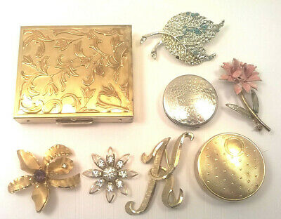 LOT Richard Hudnut Kissproof Floral Art Deco Compacts + Costume Jewelry Vtg NICE