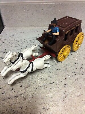 Antique Cast Iron Horse And Carriage W/ Cowboy