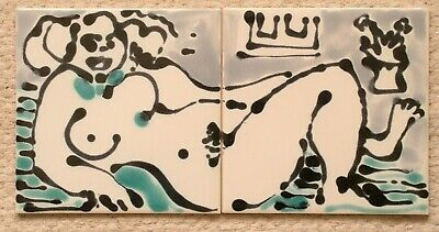 """Unique hand painted 2x6""""sq tile panel designed and painted by Kenneth Clark 1986"""