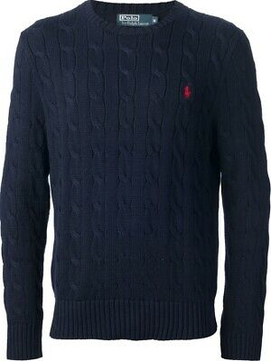 New Polo Ralph Lauren Boys Cable Knit Crewneck Sweater Navy Long Sleeves Small