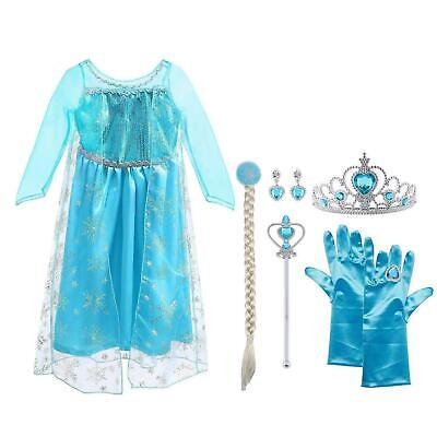 Vicloon Ice Queen Elsa Princess Costume Deluxe 5pcs 120 (For 4-5 Years Old)