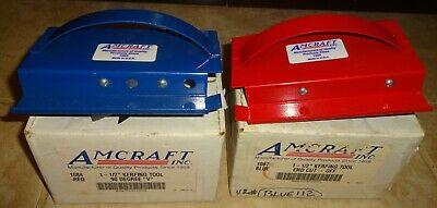 "Amcraft 1-1/2"" Kerfing Tool End cut off 1087 blue & 90 degree ""V"" 1084 Red box"