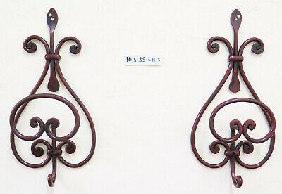 Two Coat Hangers Wall Wrought Iron Hanger Design Vintage CH15