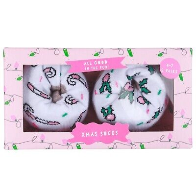 *Ladies Christmas Pudding Socks In A Gift Box *2 Pairs In A Pack*  *Ideal Gift*