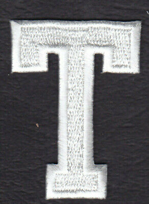 """1 7//8/"""" - Iron On Embroidered Applique Patch WHITE BLOCK LETTER /""""J/"""" LETTERS"""