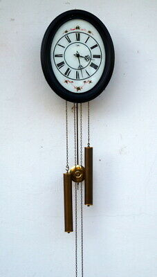 Old Wall Clock Pendulum Clock Orfac Glass with Painting Vintage Works Good