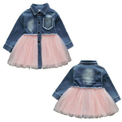 USA Kids Baby Girls Clothes Summer Denim Tulle Dress Overalls Outfits Age 6M-4Y
