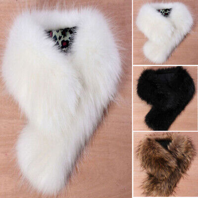 NEW Women Faux Fox Fur Collar Scarf Fluffy Winter Shawl Wrap Stole Scarfs Chic
