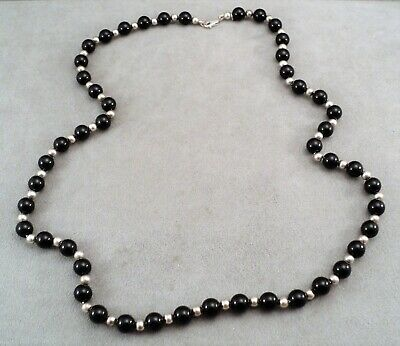 """TIFFANY & CO Sterling SILVER & ONYX Bead 30"""" NECKLACE on Sterling Chain -Classic"""