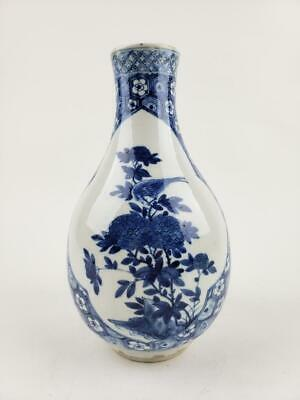 Chinese Blue and White Antique  Vase, Birds & Flowers, 19th C