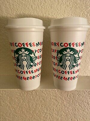 Pair Of Starbucks Reusable White Cups 16oz Merry Coffee Holiday 2019 New