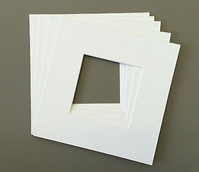 Pack of 5 12x12 Square White Picture Mats with White Core Bevel Cut for 8x8 Pict