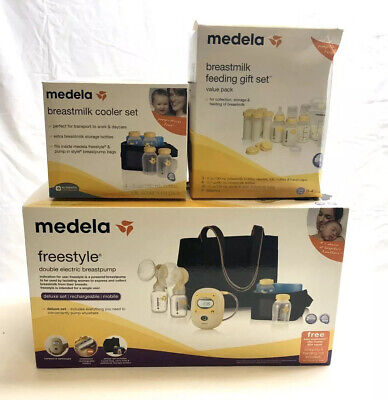 NEW Medela Freestyle Mobile Double Electric Breast Pump Deluxe Set +EXTRAS