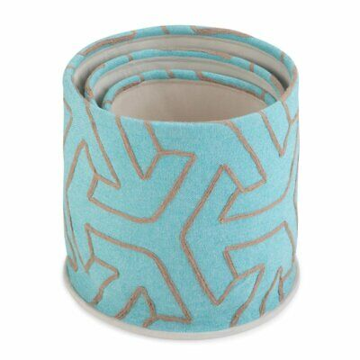 Simpli Home Kenley 3 Piece Fabric Nesting Storage Basket Set Turquoise and Gray