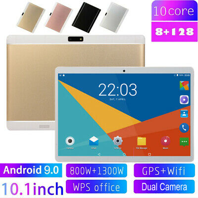 "10.1"" inch Android 9.0 Tablet PC 8G RAM bluetooth Wifi 128GB Dual SIM GPS Camera"