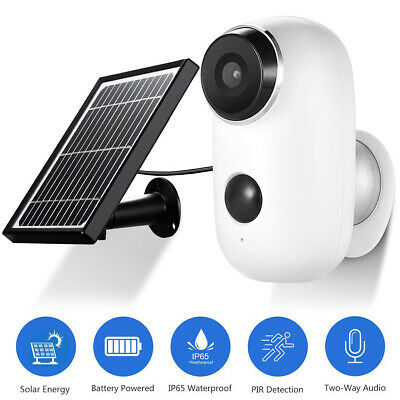 WiFi IP Security Camera 1080p Rechargeable Outdoor Battery Powered Solar Panel