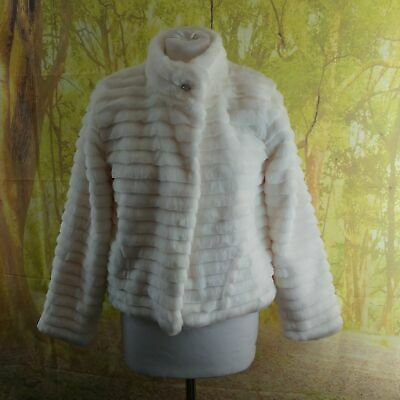 """George Winter White Faux Fur Jacket. 19"""" pit-to-pit, 21"""" length, age 11"""