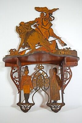 Antique handmade fretwork shelf commemorating Waterloo 1815 battle scene soldier