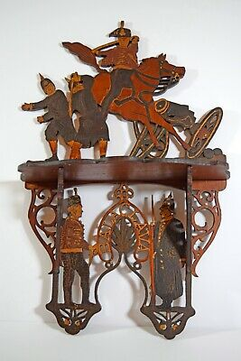 Antique handmade fretwork shelf commemorates Balaclava 1854 battle scene soldier