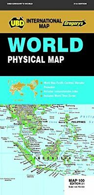 UBD Gregory's World Physical Map 100 21st ed 9780731930876