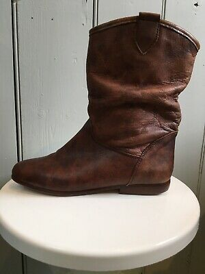 Vintage 80s Italian Leather Slouchy Ankle/Pixie Boots, C&A, Size 4