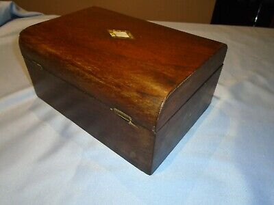 Antique Mahogany Wood Writing Box Sewing Box Desk Top Storage  Mother Of Pearl
