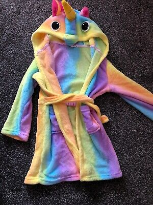 Unicorn Rainbow Bathrobe Childrens Kids Girls 5-6 Years