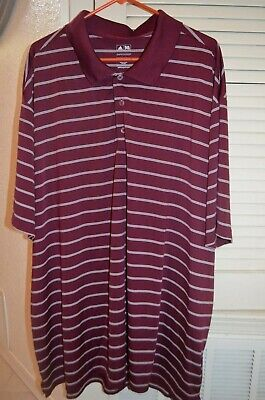 ADIDAS Golf 4XL polo shirt Puremotion maroon white stripe
