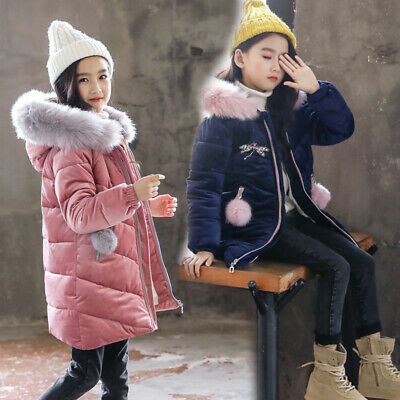 Kids Girls Toddlers Quilted Jacket Faux Fur Collar Hoodie Winter Thicken Coat