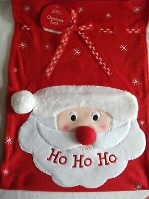 Clearance: Buy 1 Get 1 Free ! Large Santa Sack Featuring A Happy Santa's Face.
