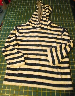 Mini Boden Towelling Hoodie Navy and white stripes age 5-6