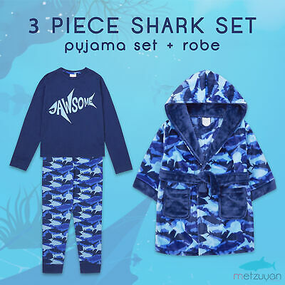 Childrens Boys Shark Pyjama and Dressing Gown Robe Gift Set Jaws Warm 2-6 Years