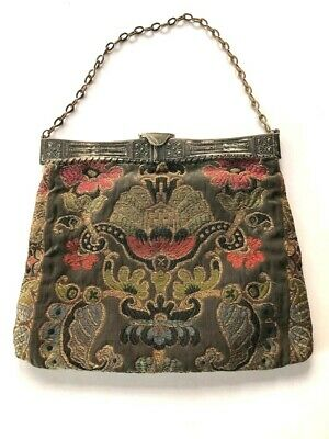 Unusual Mint Antique1900s bronze intricate embroidered handbag lined -beautiful