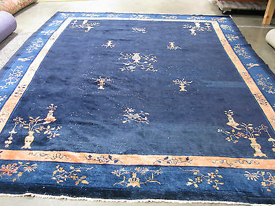 1920's Peking Chinese open back (antique style) Art Deco area rug. 9-3 x 11-6