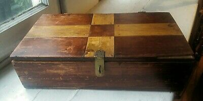 Vintage Primitive Wood Box Checkerboard Style Top, Advertisment on Wood Inside