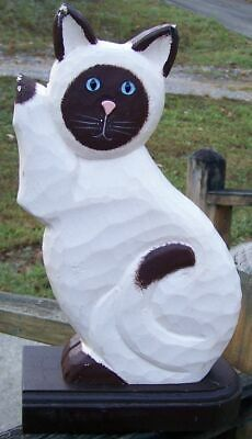 Cat Hand Carved Wood Hand Painted Folk Art Appeal Cat With Wooden Base!!!!!!!!!!