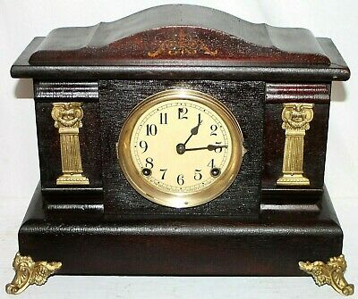 Antique Sessions Carved Wood Mantel Clock W/ Inlay, Gilt Columns & Scrolled Feet