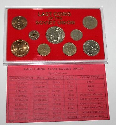 Last Coins Of The Soviet Union 9 Coins--1980, 83, 89 & 91 In Holder W/Papers Nr!