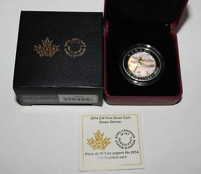 2014 Canada Fine Silver $10 Green Darner Color Proof Coin In Box W/ Coa Nr!