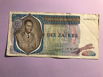 Banknote 10 Zaires year 1977 from Zaire