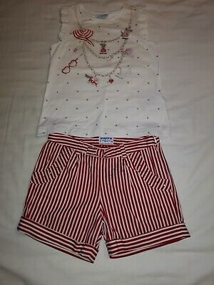Mayoral Outfit Shorts And Top Girls Size Age 9