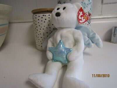 Ty Beanie Baby ~ STAR the Angel Bear Holding Blue Star ~ Ideation Excl MWMT