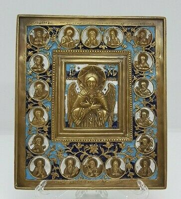 Russian orthodox bronze icon The Savior of the Blessed Silence.Enameled