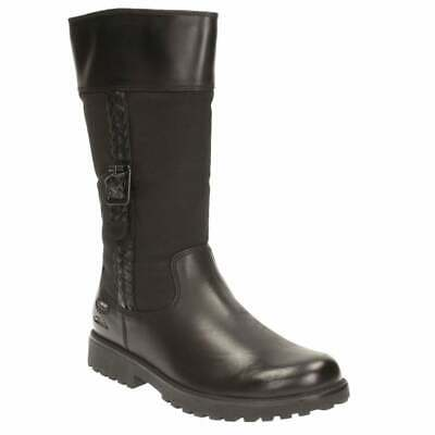 Clarks Girls Rhea Go GTX Gore-tex School Boots Shoes Black leather. All Sizes