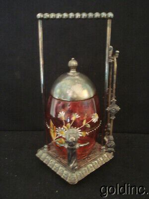 Nice 19th. Kate Greenaway Silver Plate Cranberry Enamelled Pickle Castor Tufts
