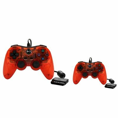 2x TTX Tech PS2/PS1 Red Wired Controller for Playstation 2 Playstation 1
