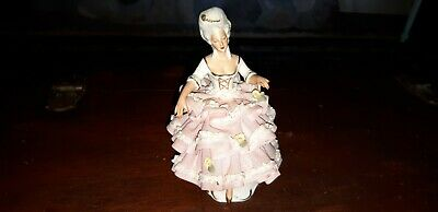 Antique German Porcelain Dresden Lace Crinoline Regal Lady Figurine 6""